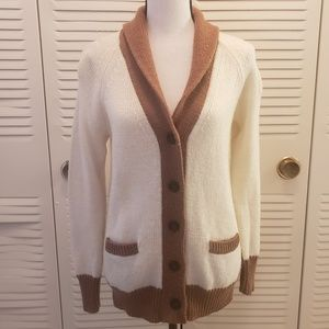 J. Crew Cream & Brown Button Down Mohair Cardigan